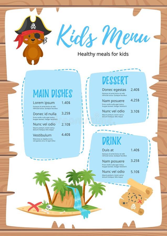 Diseño para el menú de los niños stock de ilustración