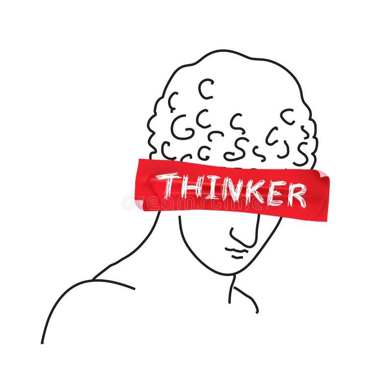 Diseño para la camiseta con el pensador del lema en el papeleo Ilustraci?n drenada mano del vector libre illustration
