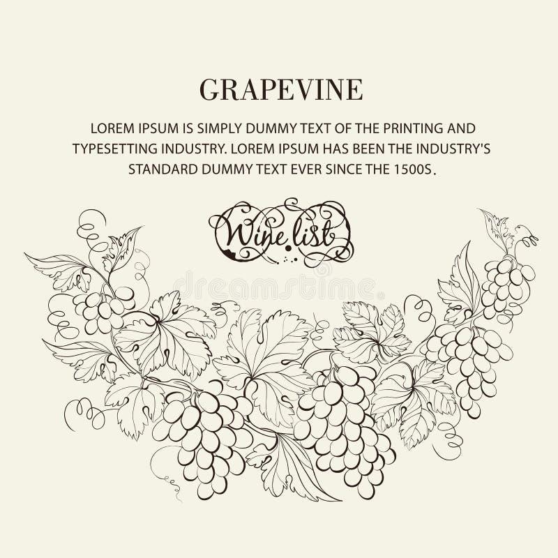 Diseño para la carta de vinos. stock de ilustración