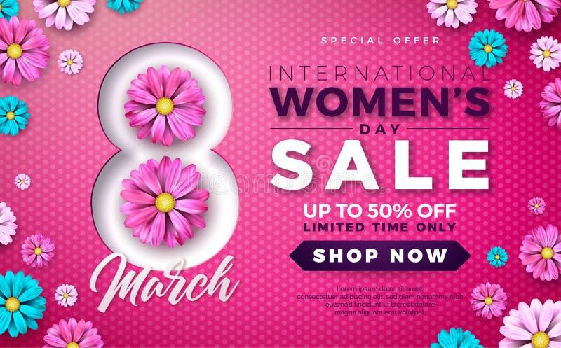 Diseño para mujer de la venta del día con la flor colorida hermosa en fondo rosado Plantilla floral del ejemplo del vector para e stock de ilustración