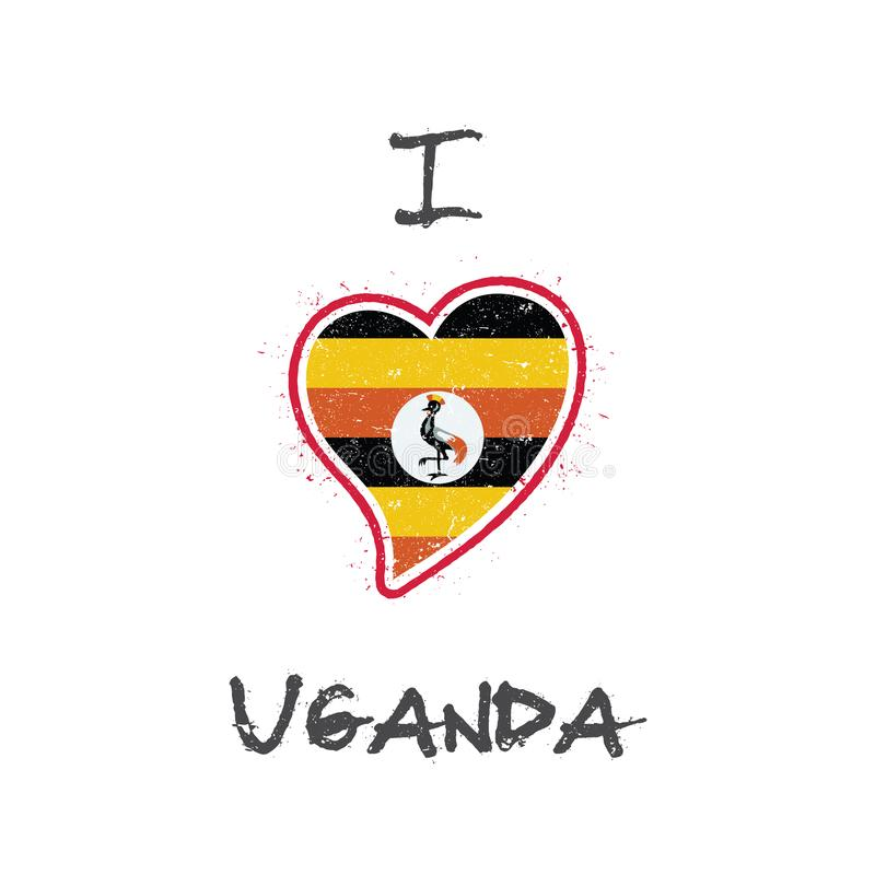 Diseño patriótico de la camiseta de la bandera del Ugandan stock de ilustración