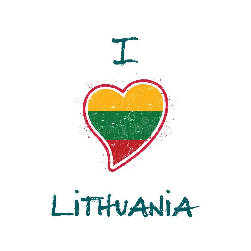 Diseño patriótico de la camiseta de la bandera lituana stock de ilustración