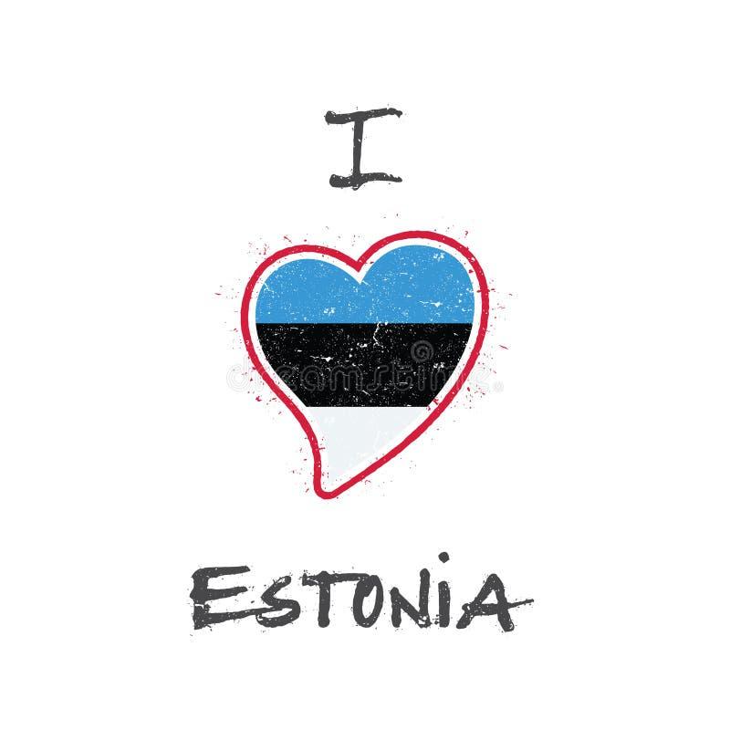 Diseño patriótico de la camiseta de la bandera estonia libre illustration