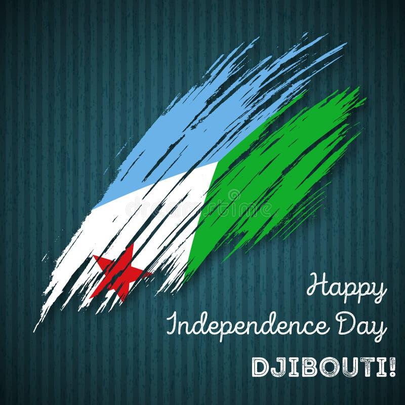 Diseño patriótico del Día de la Independencia de Djibouti stock de ilustración