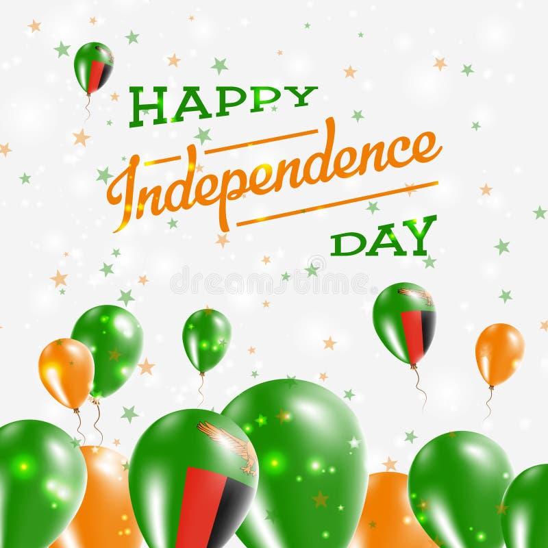 Diseño patriótico del Día de la Independencia de Zambia stock de ilustración