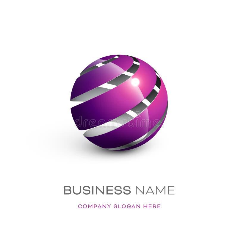Diseño pelado extracto del logotipo de la esfera ilustración del vector