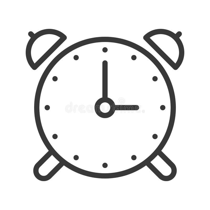 Diseño perfecto del pixel del icono del despertador, esquema editable del movimiento stock de ilustración