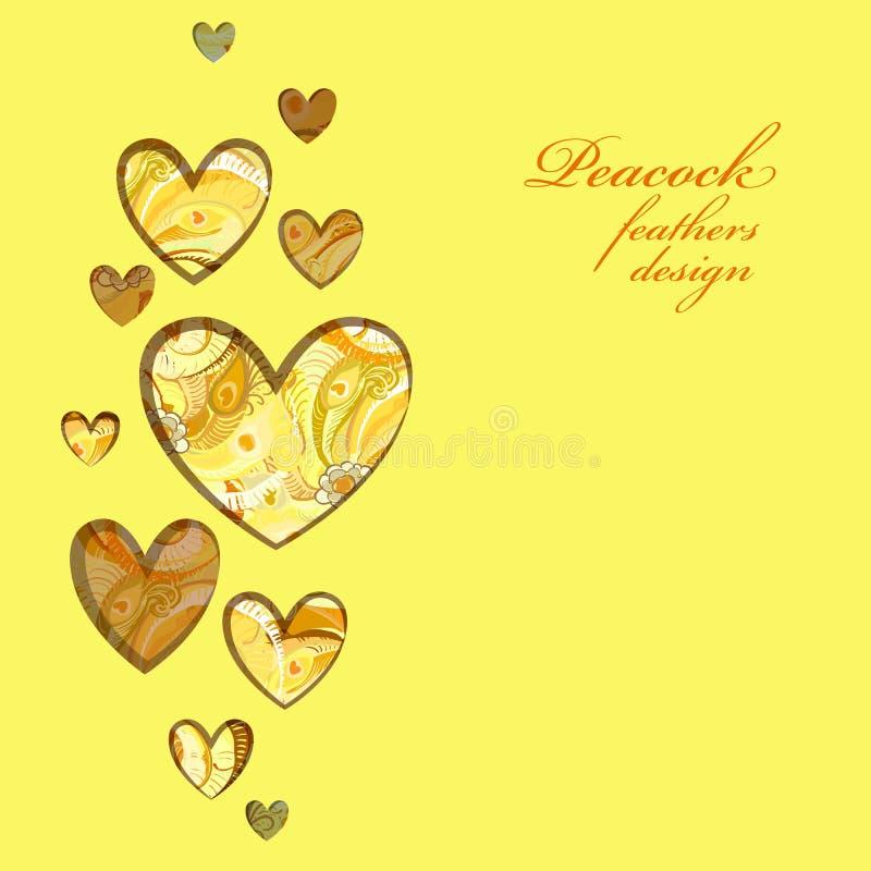 Diseño pintado amarillo de los corazones de las plumas del pavo real Tarjeta del amor ilustración del vector