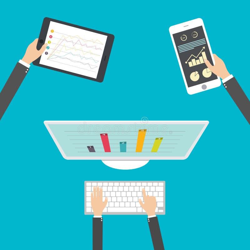 Diseño plano, Analytics y vector programado Optimización de la aplicación web stock de ilustración