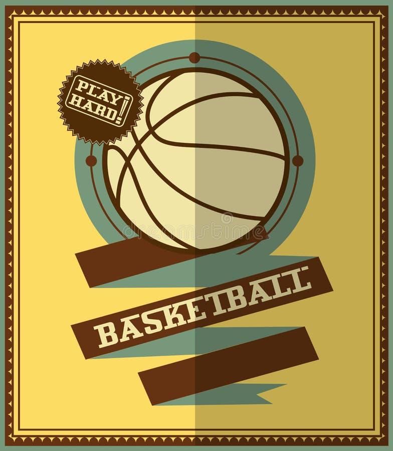 Diseño plano Cartel del baloncesto stock de ilustración