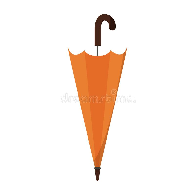 Diseño plano cerrado del vector, doblado estilizado del icono del paraguas stock de ilustración