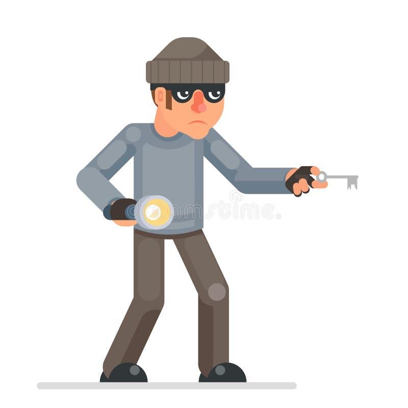 Diseño plano codicioso del ladrón del chivato de la mano de la linterna de las llaves de los ladrones del ladrón de casas de Pick libre illustration