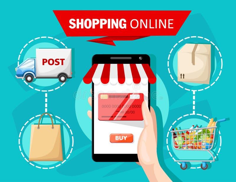 Diseño plano con comercio electrónico y los iconos en línea de las compras y elementos para los símbolos móviles de la historia d ilustración del vector