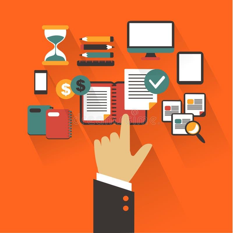 Diseño plano Concepto del negocio con la mano Escritura infographic ilustración del vector