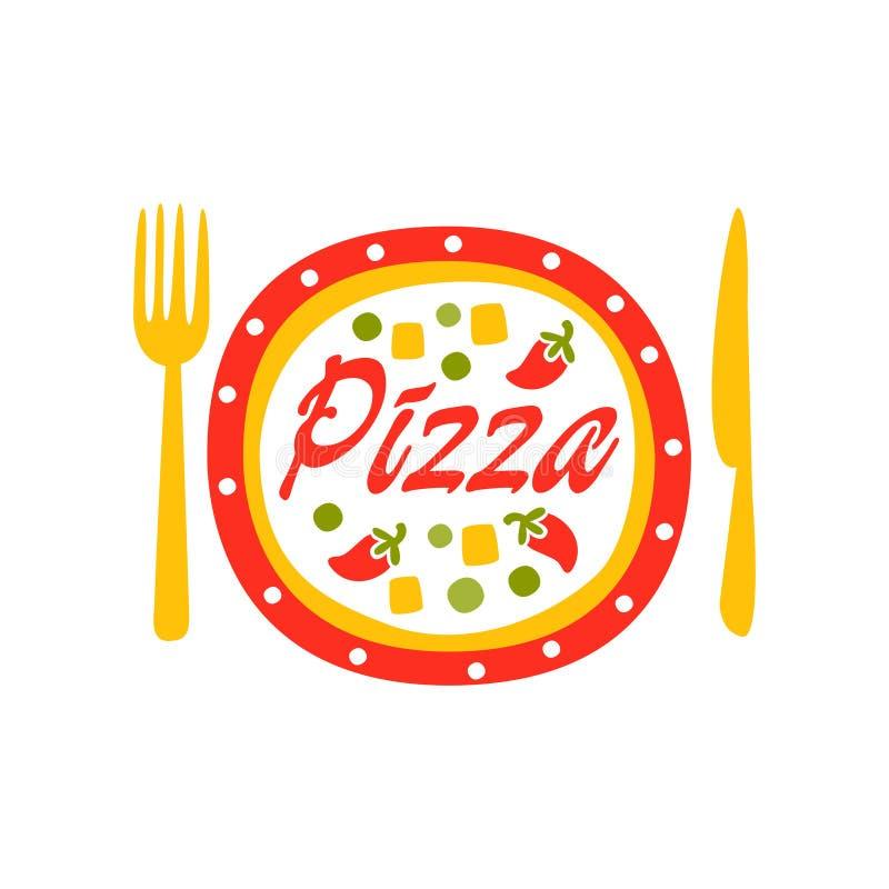 Diseño plano creativo del logotipo con la pizza, la bifurcación y el cuchillo vegetales Insignia colorida de la pizzería Vector a ilustración del vector