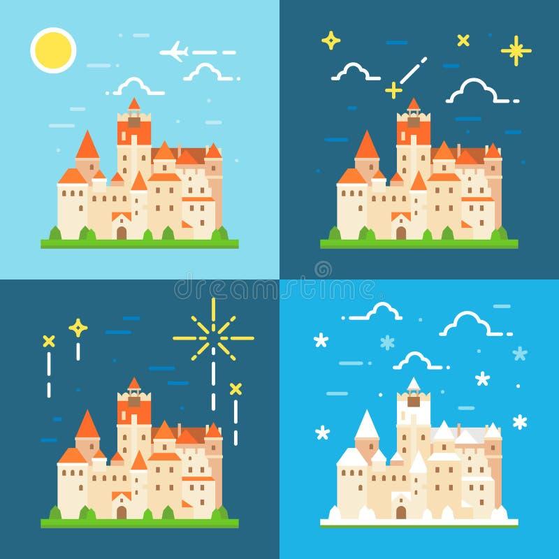 Diseño plano de Alemania del castillo del salvado ilustración del vector