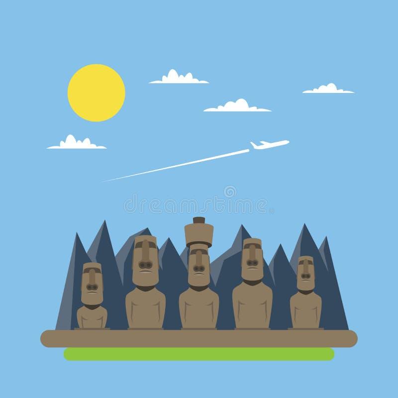 Diseño plano de estatuas de Moei libre illustration