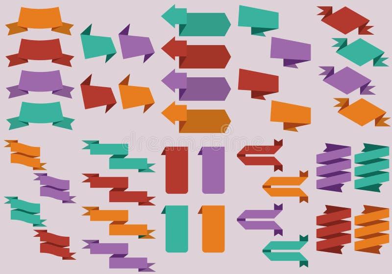 Diseño plano de etiquetas engomadas del web stock de ilustración