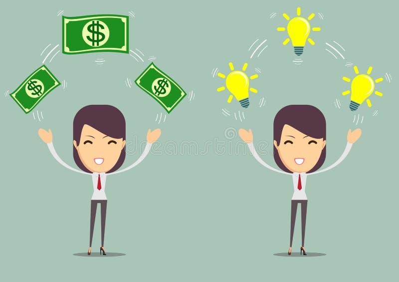Diseño plano de ideas y de dinero del negocio de intercambio Concepto de la idea del asunto Ilustración del vector Aislado ilustración del vector