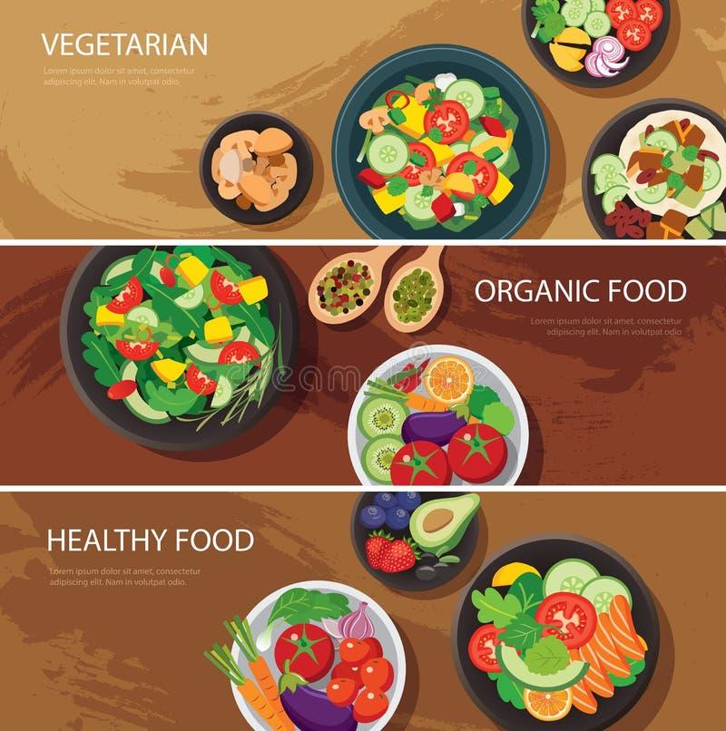 Diseño plano de la bandera de la red alimentaria vegetariano, alimento biológico, sano stock de ilustración