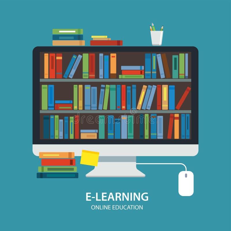 Diseño plano de la biblioteca del concepto en línea de la educación libre illustration