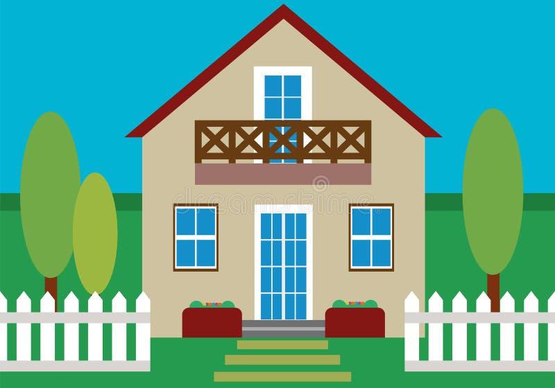 Diseño plano de la casa stock de ilustración
