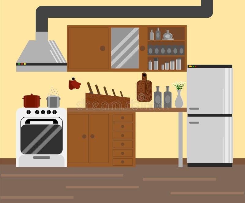 Diseño Plano De La Cocina Modular Acogedora Ilustración del Vector ...