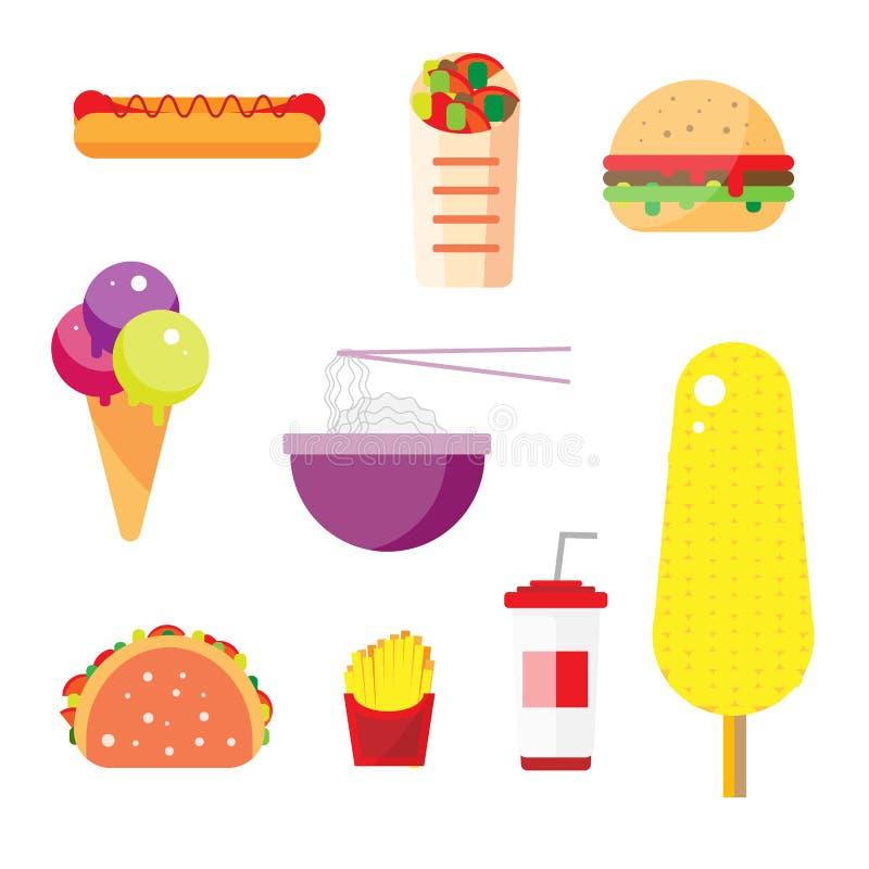 Diseño plano de la comida de la calle libre illustration