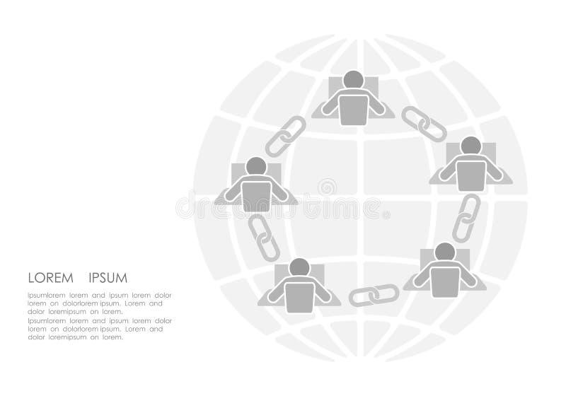 Diseño plano de la conexión de la muestra del vínculo de Blockchain Concepto de la red del negocio de seguridad del enlace hipert stock de ilustración