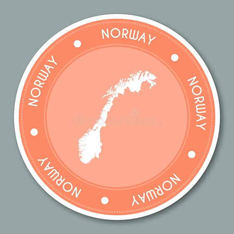 Diseño plano de la etiqueta engomada de la etiqueta de Noruega ilustración del vector