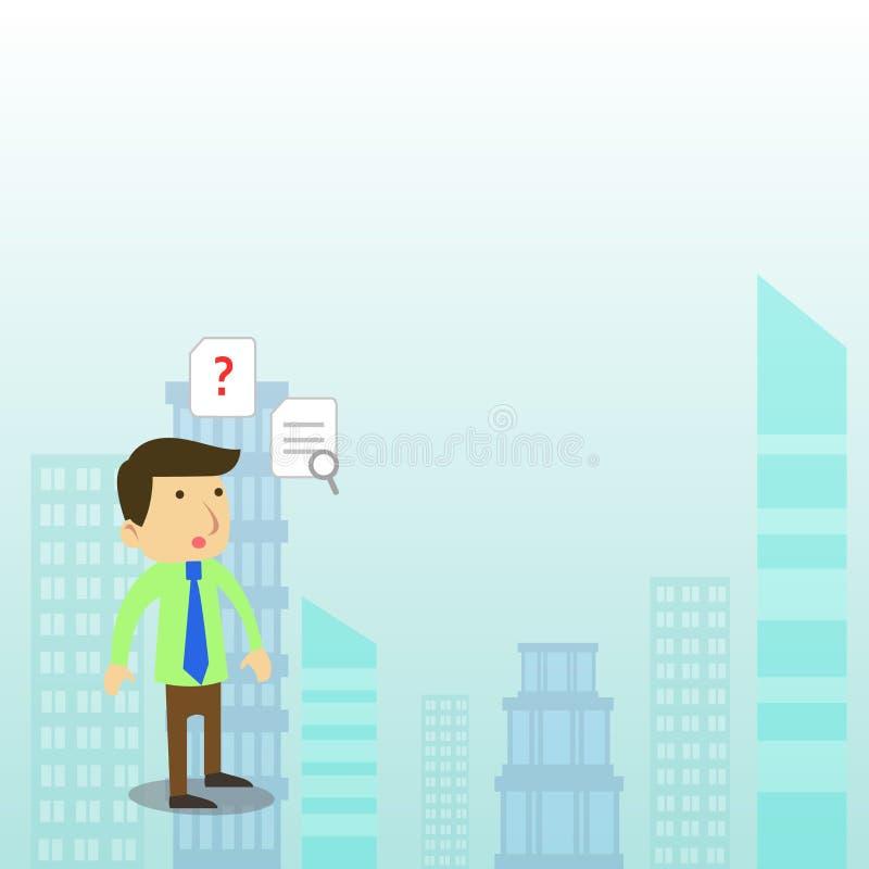Diseño plano de la foto de oficinista o de hombre de negocios masculino joven en un lazo que se coloca confundido y que piensa so stock de ilustración