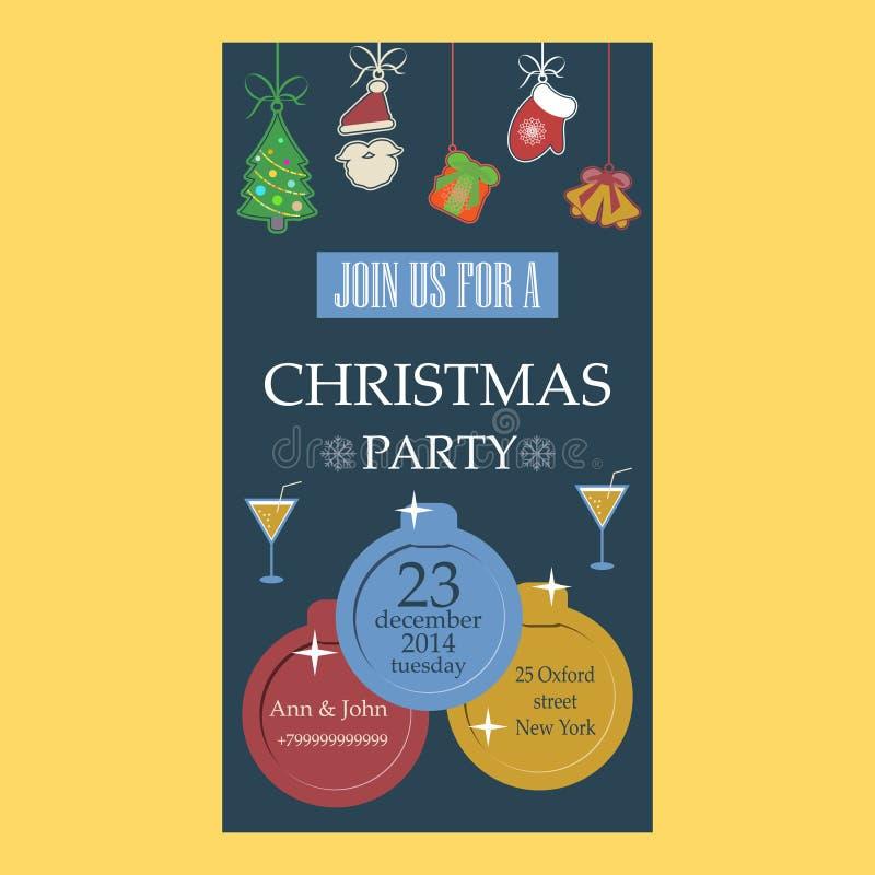 Diseño plano de la invitación de la fiesta de Navidad libre illustration