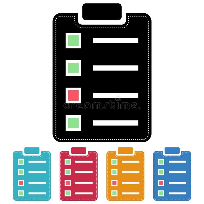 Diseño plano de la lista de control/del icono de la encuesta Cinco variaciones del color Aislado en blanco stock de ilustración