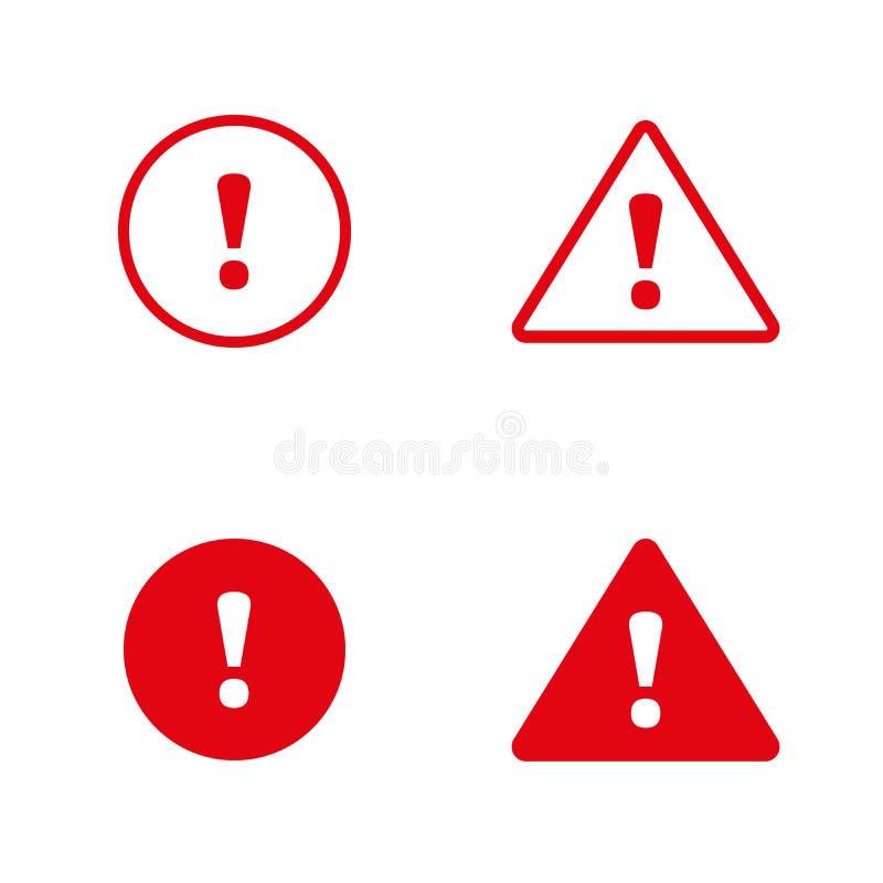 Diseño plano de la muestra del peligro Icono del error de la precaución Fije de los iconos llenado y del esquema para la web y la ilustración del vector