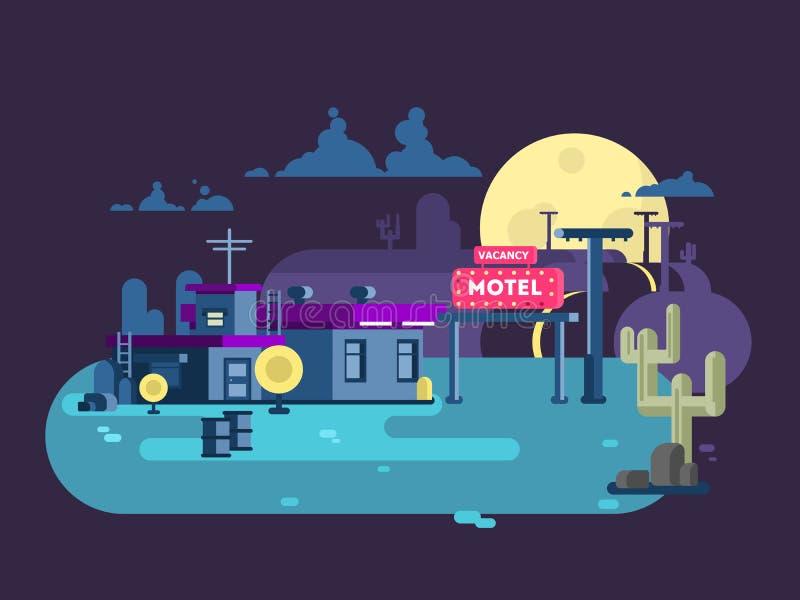 Diseño plano de la noche del motel ilustración del vector