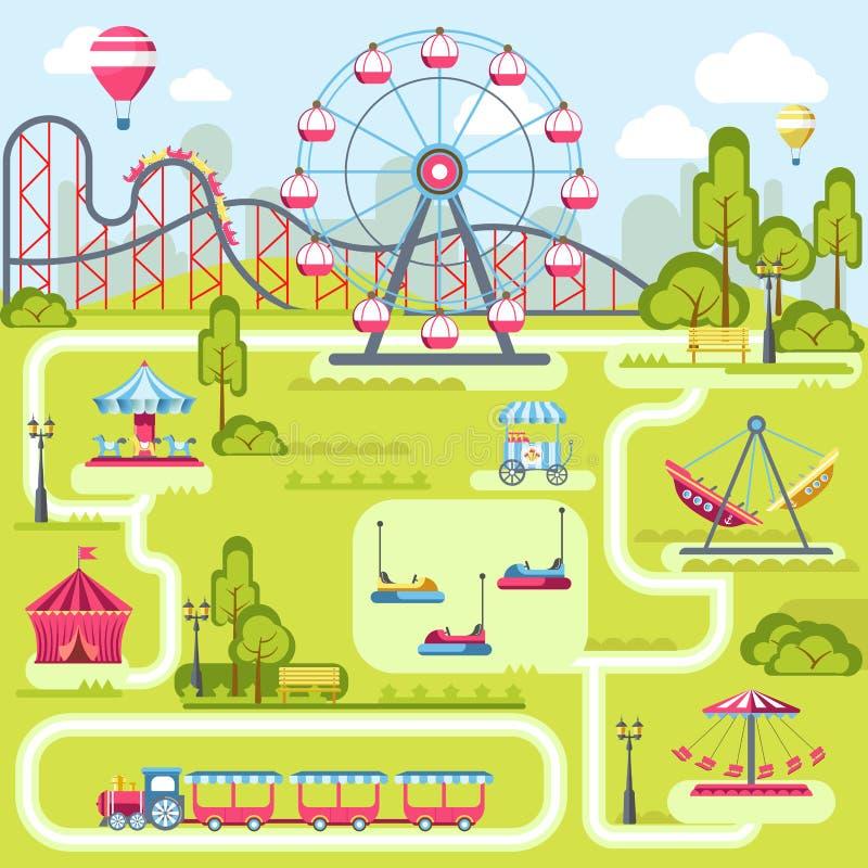 Diseño plano de la plantilla del plan del vector de las atracciones del parque de atracciones stock de ilustración