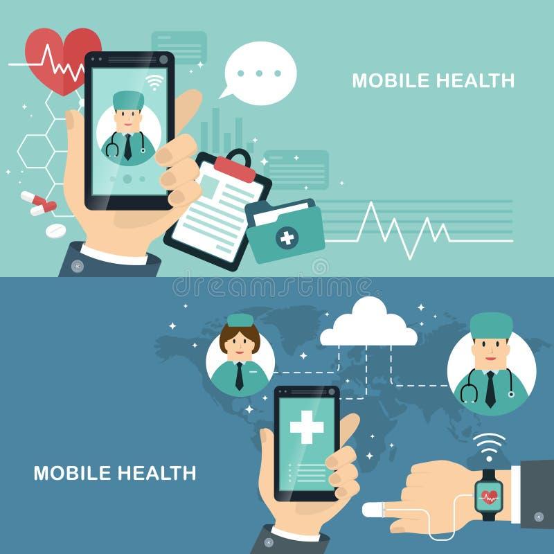 Diseño plano de la salud móvil libre illustration