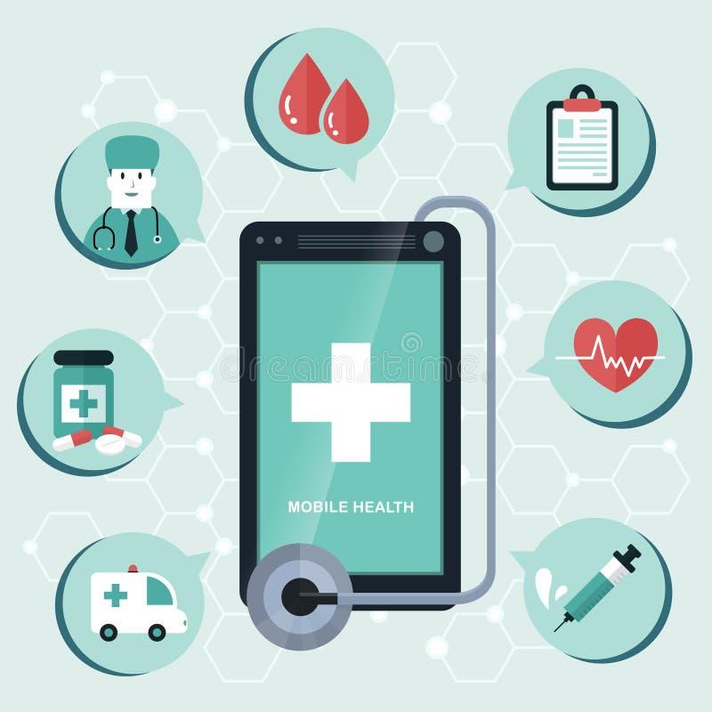 Diseño plano de la salud móvil ilustración del vector