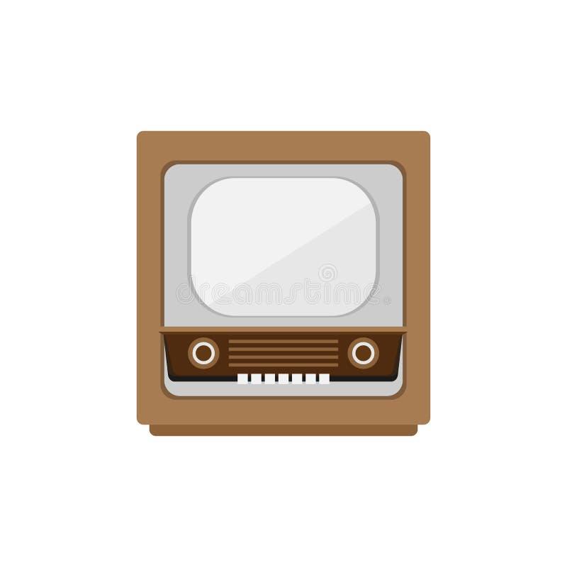 Diseño plano de la televisión vieja retra del vintage aislado en el fondo blanco libre illustration