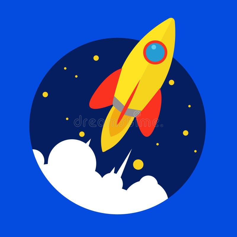 Diseño plano de lanzamiento del lanzamiento de Rocket ilustración del vector