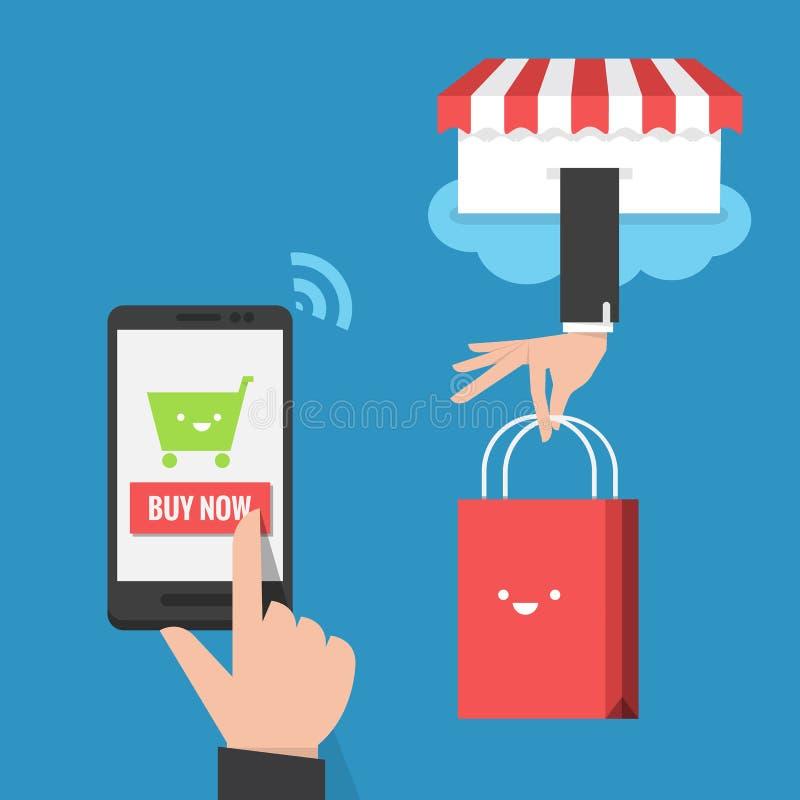 Diseño plano de las compras móviles ilustración del vector