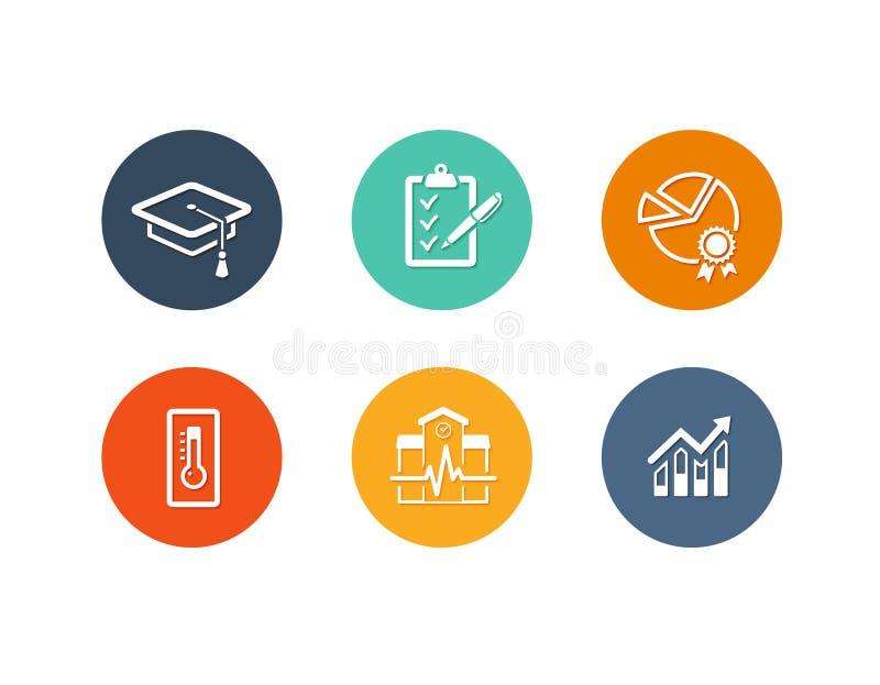 Diseño plano de los iconos académicos educativos ilustración del vector