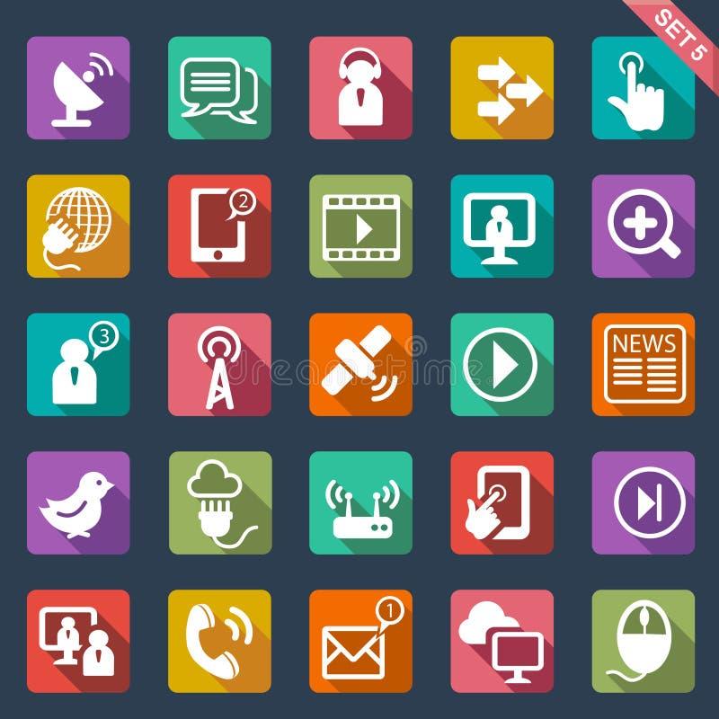 Diseño plano de los iconos de la comunicación stock de ilustración