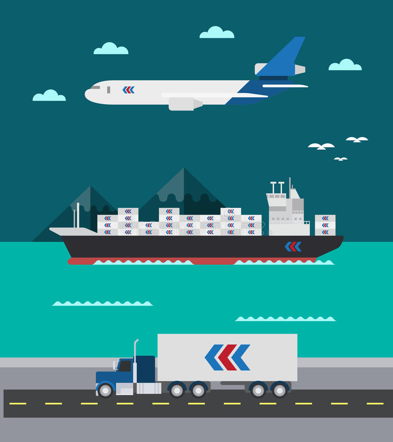 Diseño plano de mar del transporte del cargo aire-tierra libre illustration