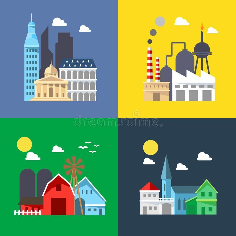 Diseño plano de paquete del paisaje urbano stock de ilustración