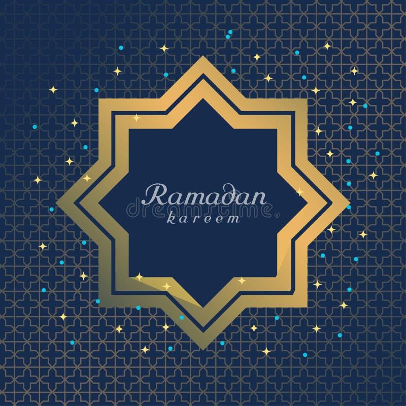 Diseño plano de Ramadan Kareem para la tarjeta ilustración del vector
