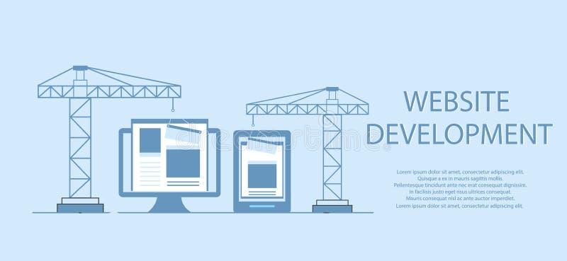 Diseño plano de sitio web bajo construcción, proceso de construcción de la página web, disposición de forma del sitio de desarrol libre illustration