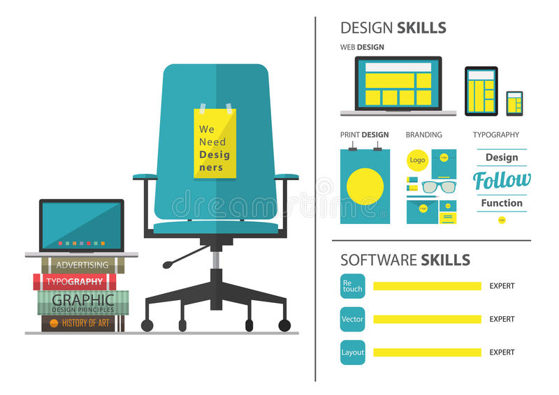 Diseño plano de trabajo que emplea para el diseñador gráfico Curriculum vitae y elemento infographic stock de ilustración