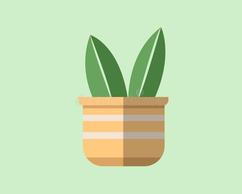 Diseño plano de una planta en un pote ilustración del vector