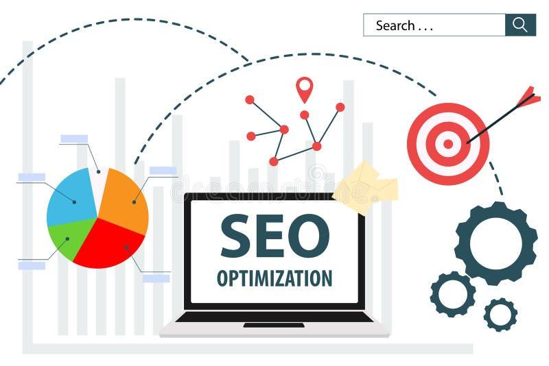 Diseño plano del analytics del web del ejemplo del vector de SEO Optimization ilustración del vector